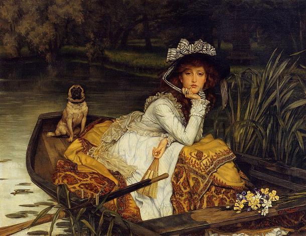 J. tissot jeune femme en bateau
