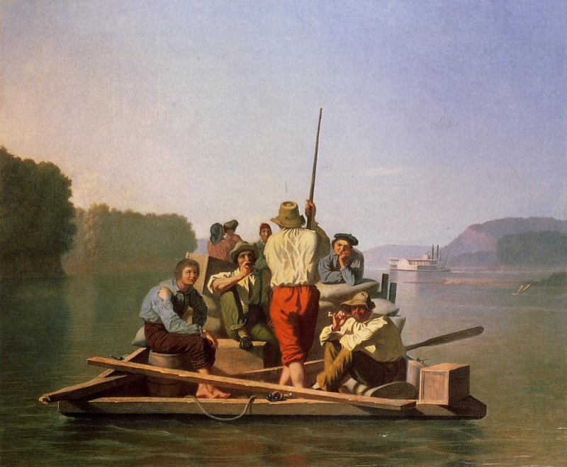 George_Caleb_Bingham_Lighter_Relieving_the_Steamboat_Aground