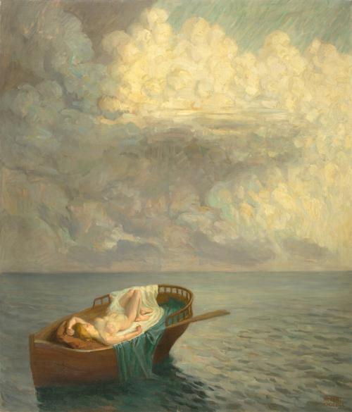 Robert Knoebel Träumende Femme dans un bateau 1900